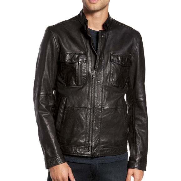 9ab86319c64c John Varvatos Jackets & Coats | Jhon Varvatos Leather Zip Front ...
